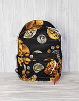 Универсальный школьный, студенческий рюкзак с цветочным принтом, черный