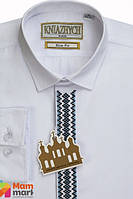 Школьная рубашка для мальчика Kniazhych Вышиванка Slim, цвет белый с синим р.158-164