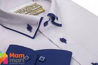 Школьная рубашка для мальчика Kniazhych Slim Виват 10, цвет белый с синим