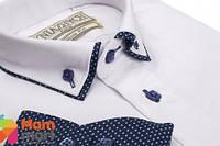 Школьная рубашка для мальчика Kniazhych Slim Виват 18, цвет белый с синим