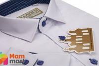 Школьная рубашка для мальчика Kniazhych Классик  белая с отделкой