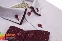 Школьная рубашка для мальчика Kniazhych Slim Виват 40, цвет белый с бордо