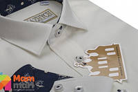Школьная рубашка для мальчика Kniazhych Whisper молочная с отделкой