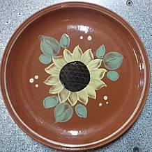 Тарілка Сл підставна черв глина 230мм соняшник
