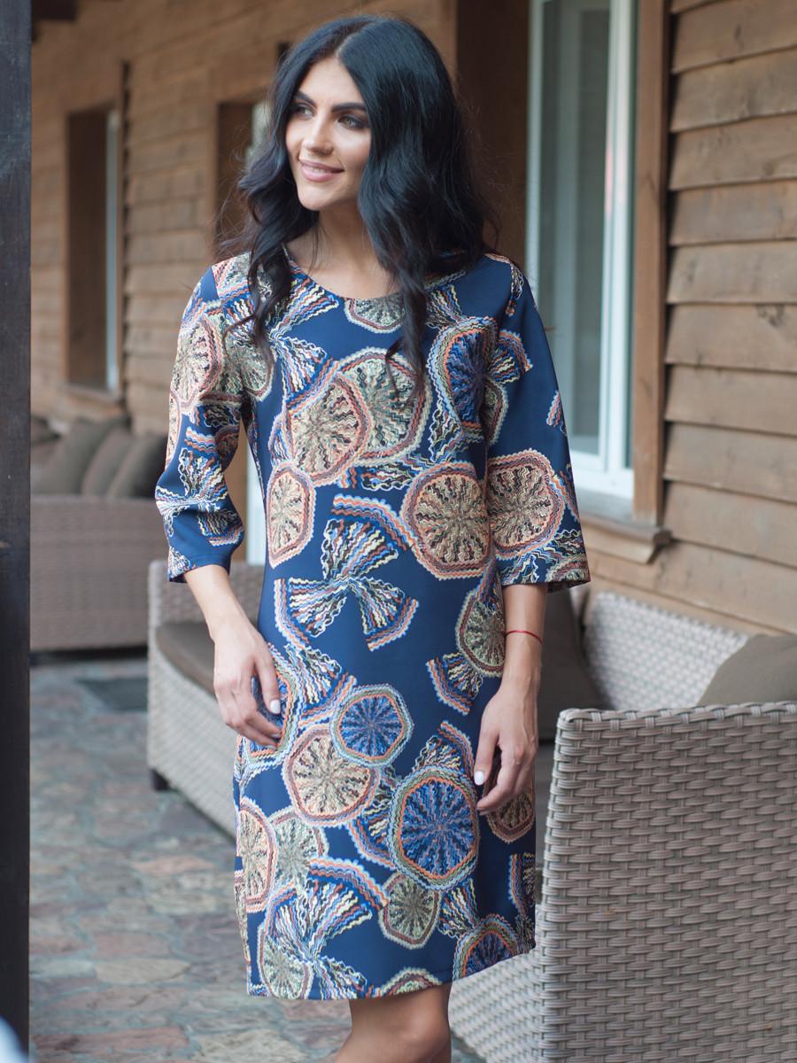 Женское полубатальное платье с принтом