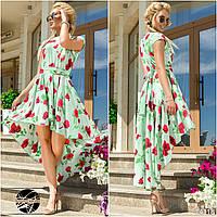 Элегантное платье асимметричной длины с оригинальным цветочным принтом.