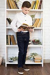 Белая рубашка с длинным рукавом на мальчика в школу в Украине дешево размер 122,128,134,140, 146, 152