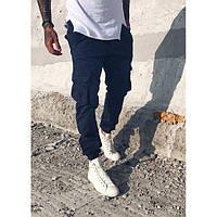 Мужские джинсы джоггеры Blackzi  8016-12 карго синие