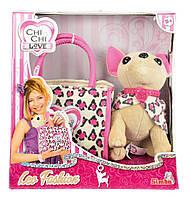 Оригинал собачка леопардовый стиль  Chi Chi Love Plüschhund 20cm mit Tasche im Leo Look Simba 5892281