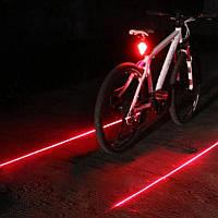 Задний фонарь на велосипед с лазером и 5 LED