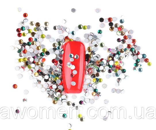 Кристаллы 1440 штук, 1.3 мм (разноцветные)