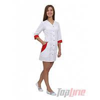 Медицинский халат женский Ибица белый/красный №65, фото 1