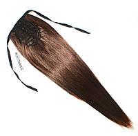 Хвост накладной на ленте из искусственных термоволос №6 золотисто-русый