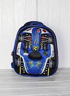 Школьный рюкзак для мальчиков с 3D машинкой, синий