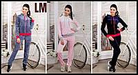 """Костюм спортивный 42-52 """"Сабрина"""" женский велюровый серый, розовый, синий, школьный, домашний, молодежный"""