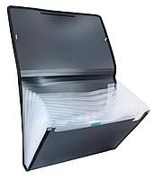 Папка-картотека на резинке  А4 13 отд. D1930 черная