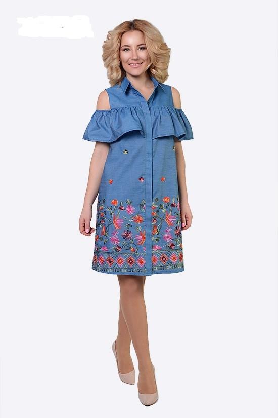 Джинсовое женское платье с открытыми плечами