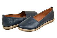 Туфли женские синие из кожи