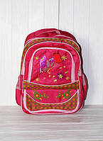 Школьный рюкзак для девочек малиновый с бабочкой