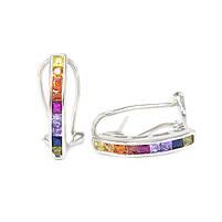 Серебряные сережки с разноцветными фианитами Арт. ER005SV, фото 2