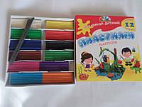 """Акция !!! Пластилин Гамма набор 12 цветов 240 грамм со стеком Детский! Серия """"Увлечения"""""""