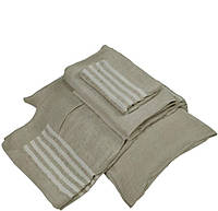 Льняное постельное белье серое с полосками