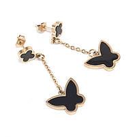 Сережки-гвоздики Четырехлистники с подвеской бабочка Арт. ER123SL, фото 2