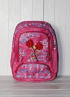 Школьный рюкзак для девочек с набивным цветком, розовый