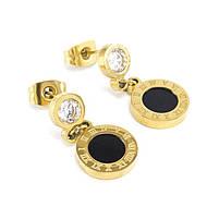 Сережки-гвоздики с круглой подвеской золотистые Арт. ER124SL, фото 2