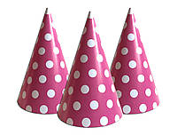 """Колпачки, колпаки праздничные, маленькие """" Горох розовый """".  Карнавальные колпаки"""