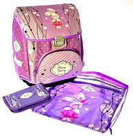"""Набор PREMIUM-A: рюкзак-коробка+мешок для обуви+пенал плоский """"Зайчик"""""""