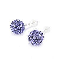 Сережки-гвоздики Кристальный шар 8 мм фиолетовые Арт. ER105SL, фото 2