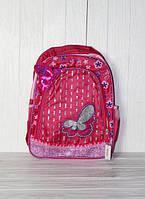 Школьный рюкзак для девочек с бабочкой и стразами, малиновый