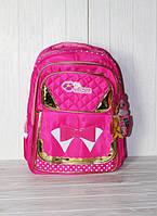 Школьный рюкзак для девочек с лаковым бантиком и отражателями