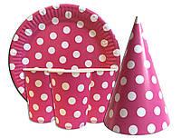 """Набор для детского дня рождения """" Горох розовый """" Тарелки -10 шт. Стаканчики - 10 шт. Колпачки - 10 шт."""