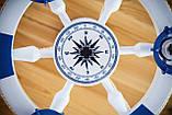 Люстра штурвал деревянная белая на 3 лампочки в морском стиле с компасом, фото 2