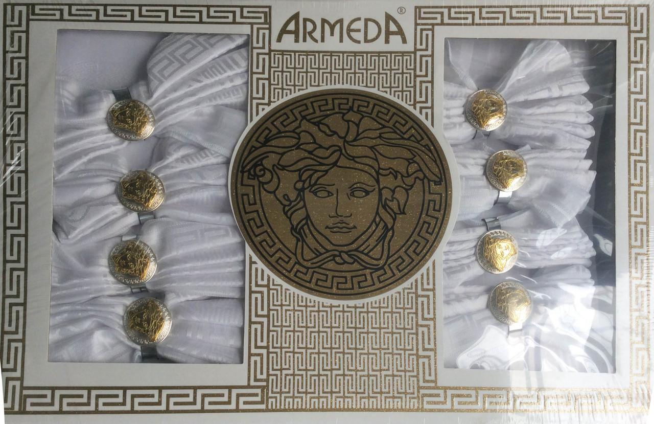 Скатерть на 8 персон с кольцами для салфеток Armeda
