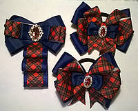 Комплект аксессуаров украшений для школы с брошью-галстуком, цвет синий+красный