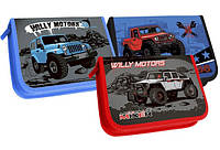 Пенал шкільний 1 відділення 2 відвороти Джипи Willy motors 3 зразка 12шт/уп.