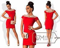 Платье - футляр с кружевным верхом 1027/1 (AMBR)