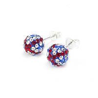 Сережки-гвоздики Кристальный шар 8 мм синие с красными и белыми полосами Арт. ER103SL, фото 2