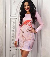 Платье с длинным рукавом и лицом девушки 128 (AMBR)