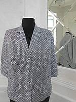 Жакет женский летний хлопковый бело-черный с карманами большого размера 60