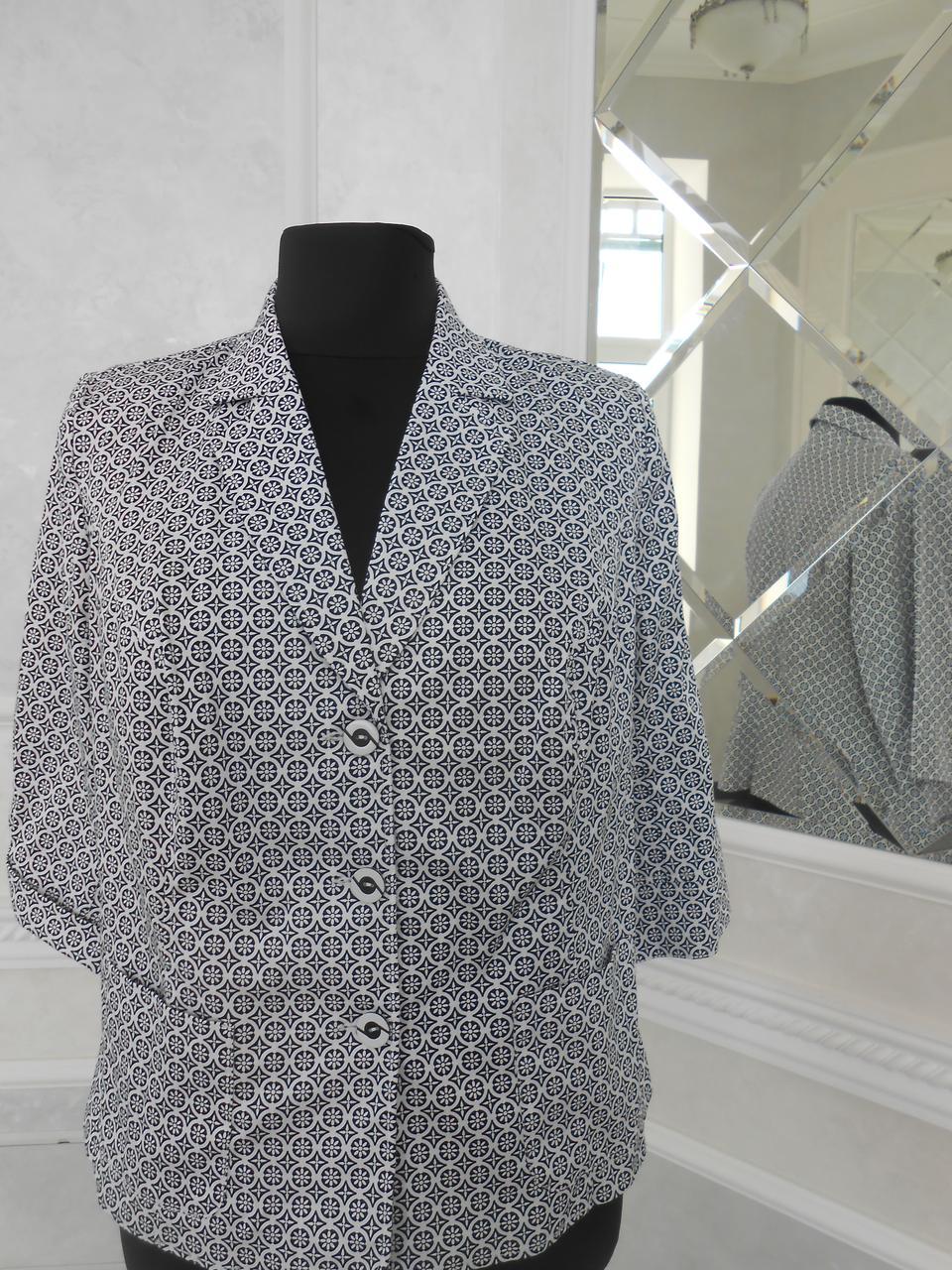 Жакет жіночий літній бавовняний біло-чорний з кишенями великого розміру 60
