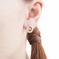 Сережки-гвоздики из сердечек с фианитами Арт. ER096SL, фото 4
