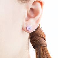 Сережки-гвоздики Кристальный шар 8 мм сиреневые Арт. ER099SL, фото 3