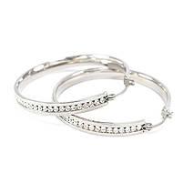 Сережки-кольца с фианитами по кругу серебристые Арт. ER080SL, фото 2