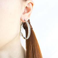 Сережки-кольца с фианитами по кругу серебристые Арт. ER080SL, фото 3