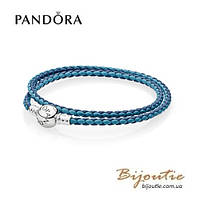 Pandora кожаный браслет #590747CBMX-D серебро 925 Пандора оригинал