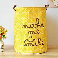 Большая и вместительная корзина для игрушек в детскую комнату (хлопок, высота – 50 см, диаметр – 40 см) ТМ Berni